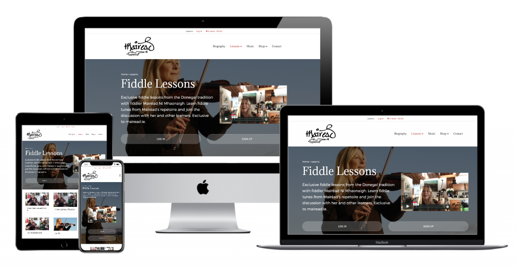 Fiddle Lessons website with Mairéad Ní Mhaonaigh